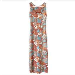 J. McLaughlin Paisley Print Maxi Orange Blue Small